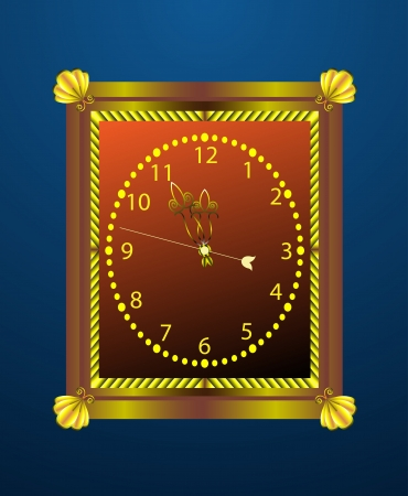 12 o'clock: Vintage wall clock with the hands around midnight.  Illustration