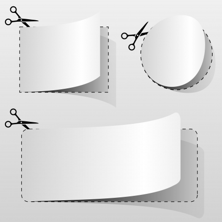 scissors cutting paper: Blank white advertising coupon cut from sheet of paper.