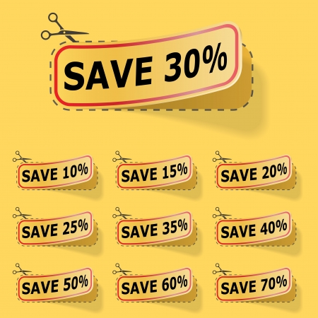 Discount yellow labels with red frame. Vector