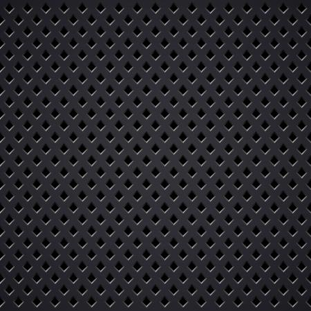 Dark metal diamond perforated grill vector texture.