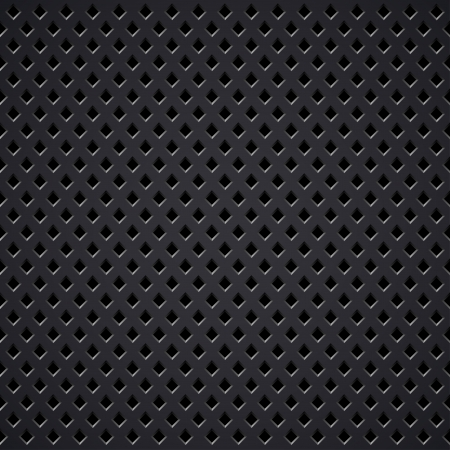 Dark metal diamond perforated grill vector texture.