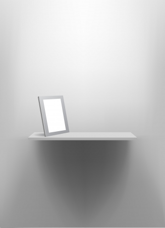 White wall shelf with blank photo frame. Vector