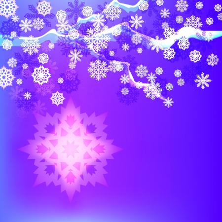 Abstract winter background with snowflakes. Stock Vector - 14491734