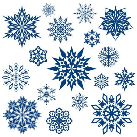 estrellas de navidad: Snowflake colección formas aisladas en blanco.