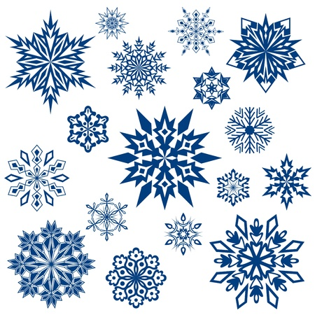 christmas stars: Snowflake shapes collection isolated on white.