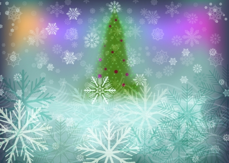 Abstract winter background with green Christmas tree. Vector