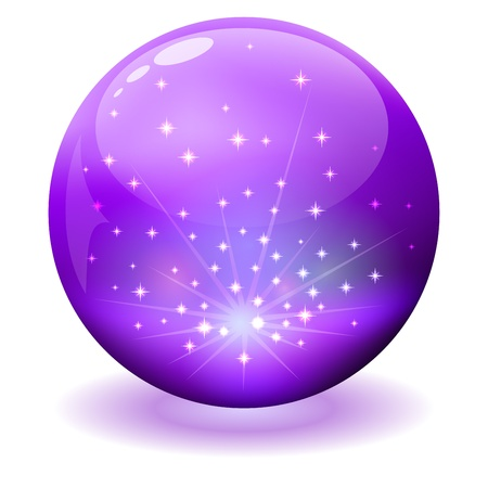 Glossy violet sphere with sparks inside. Vector