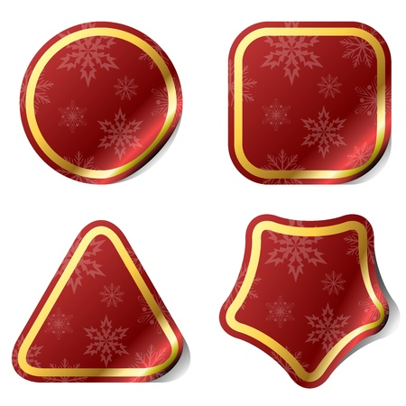 Christmas red stickers with snowflake pattern. Vector