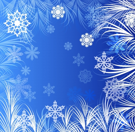 Abstract winter window ornaments background. Vector