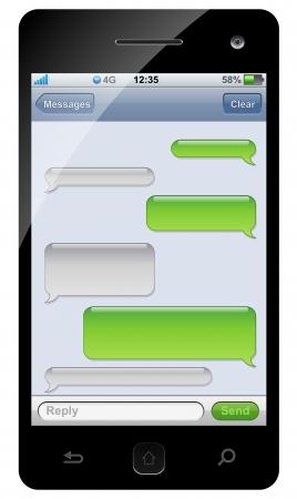 スマート フォンの sms チャット コピー スペースを持つテンプレート。  イラスト・ベクター素材