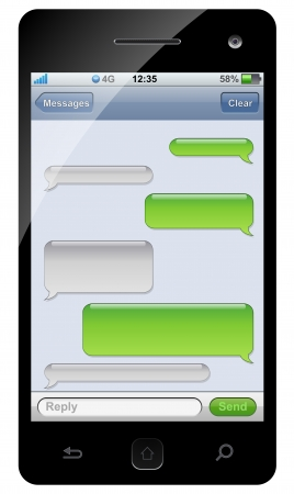 message bubble: Smartphone sms chat template with copy space.