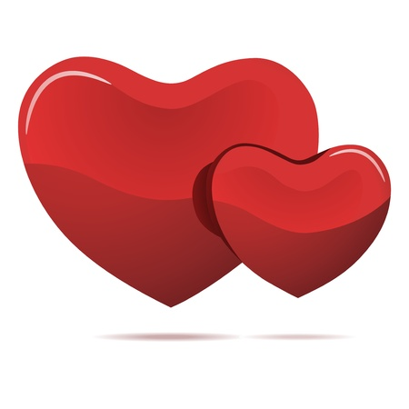 Two red hearts isolated on white  Vector