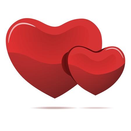 Zwei rote Herzen auf weißem Vektorgrafik