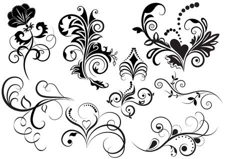 黒と白の花のデザイン要素のコレクション