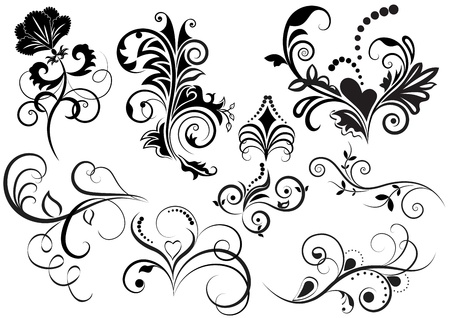 Collection of black and white floral design elements