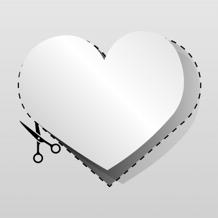 cutoff: Blank white advertising heart shaped coupon cut from sheet of paper  Illustration