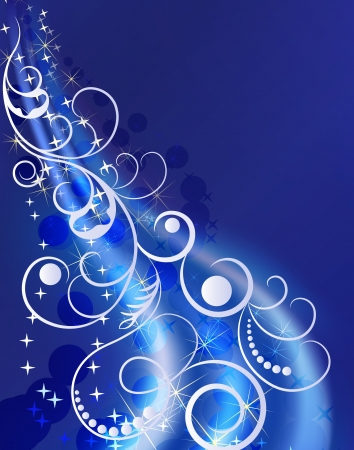 Blue winter ornament with blue copy space background  Vector