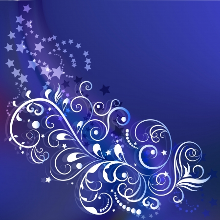 Dark blue winter ornamental background with copy space  Vector