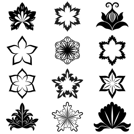 Black and white flower design elements  Vector