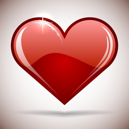 acirc: Glossy red heart icon illustration