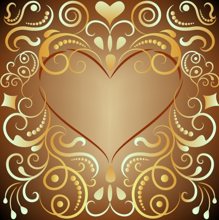 Heart shaped golden ornament frame vector illustration  Vector