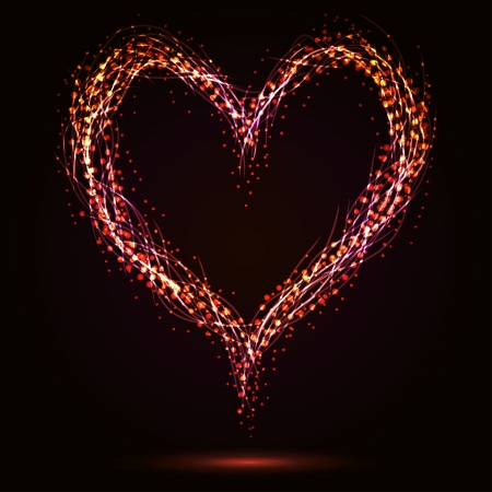 heart heat: Sparkling heart shape on dark background  Illustration
