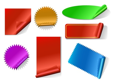 promotional offer: Colorful sticker set isolated on white