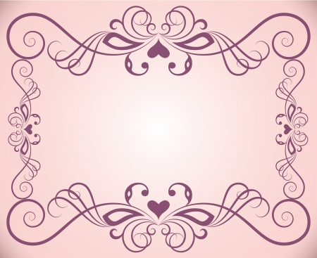 Pink ornate floral frame background with copy space