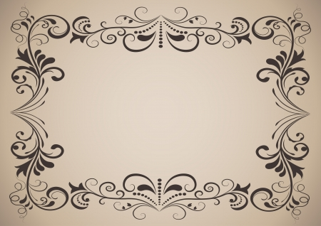 Horizontal vintage ornamental frame with copy space  Vector