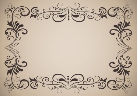 Horizontal vintage ornamental frame with copy space  Vector