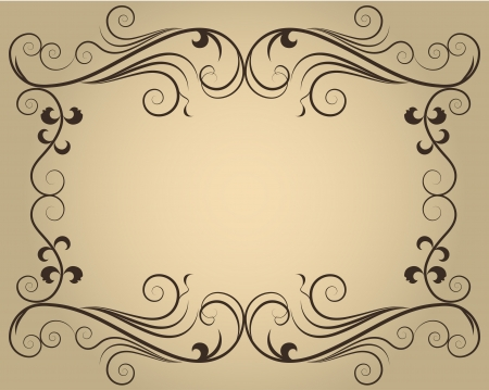 Vintage ornate calligraphic frame with copy space  Illustration