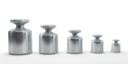 Row of calibration weights isolated on white