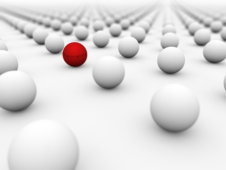 eyecatcher: Red ball surrounded by white ones with the focus on it