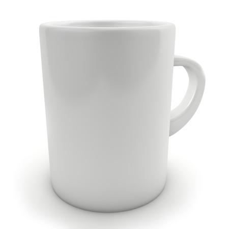 白で隔離される伝統的な空白白いマグカップ 写真素材
