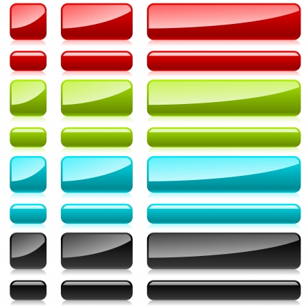 Color plastic rectangular buttons for web design  Stock Vector - 14576631