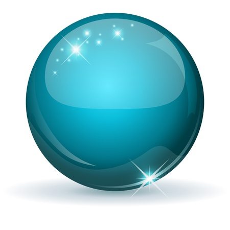 Teal glossy sphere isolated on white  Illustration