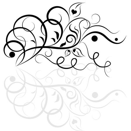 黒と白の花柄のデザイン要素