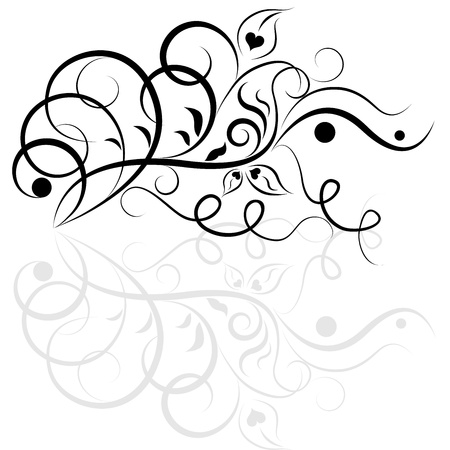 Black and white floral design element