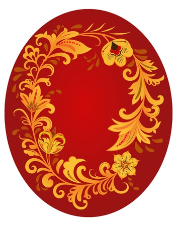 hohloma: Hohloma style ornament with red copy space  Traditional Russian art style