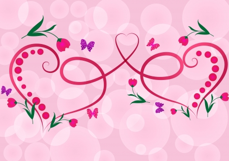 Two red floral hearts pink vector background  Vector