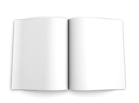 Blank opened advertising folder viewed from top isolated on white background