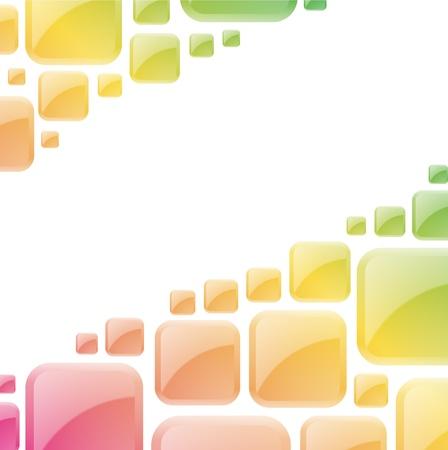 カラフルな光沢のある正方形抽象的なベクトルの背景
