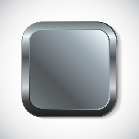 Square metal button with rounded corners  Vector