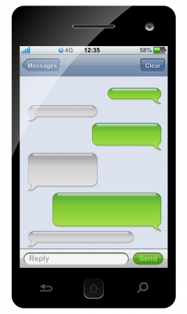 message bubble: Smartphone sms chat template with copy space