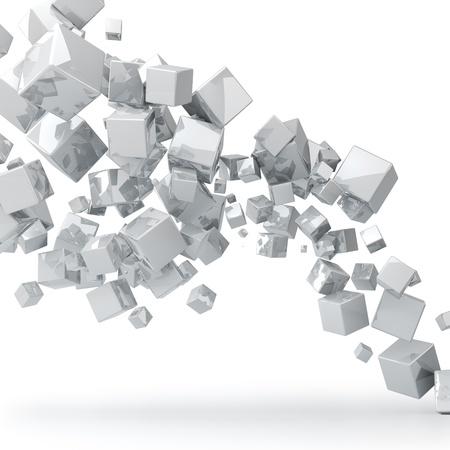 din�mica: Abstract 3D brilhante cubos brancos fundo Banco de Imagens