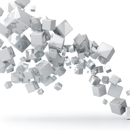 Abstract 3D glossy white cubes background