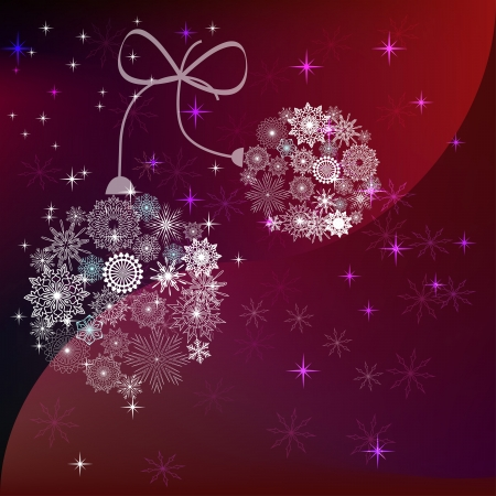 Christmas balls made of snowflakes reddish vector background. Vector