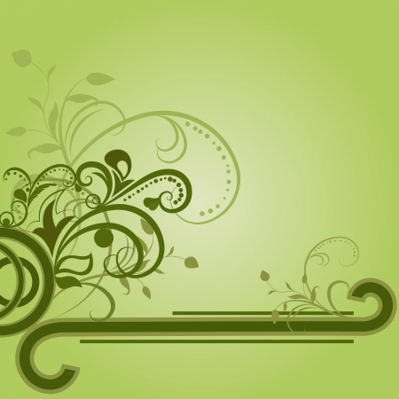 Green floral background with copy space. Vector