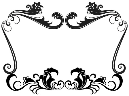 floral scroll: Black and white vintage floral frame template.
