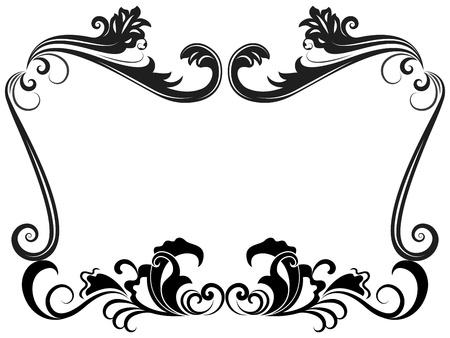 grens: Zwart-wit vintage floral frame sjabloon. Stock Illustratie